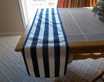 Navy Blue and White Stripe Wedding Table Runners