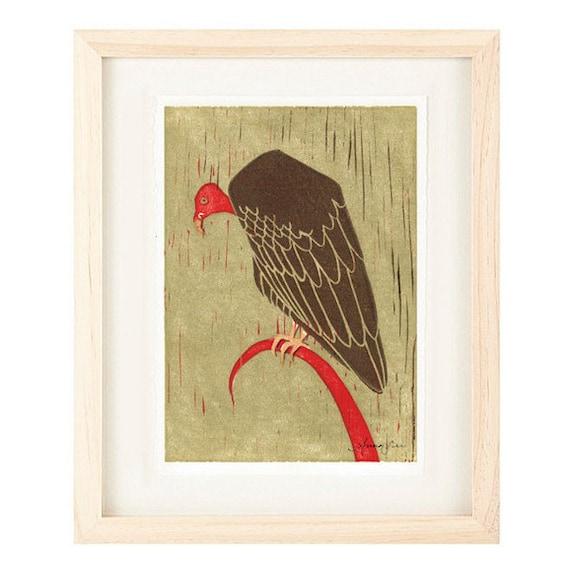 TURKEY VULTURE Reproduction Linocut Art Print: 4 x 6, 5 x 7