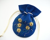 Felt Pouch Dark Blue Drawstring Bag Hand Embroidered Handsewn