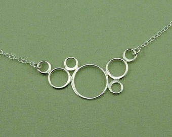 Circle Necklace - art deco necklace, sterling silver circles