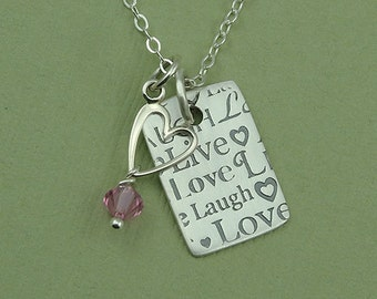 Live Laugh Love Necklace - sterling silver live love laugh birthstone jewelry - love singns