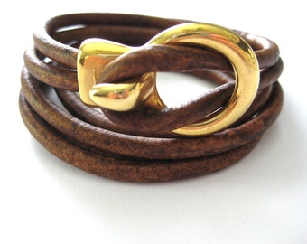 Dark brown leather wrap bracelet with antique gold clasp