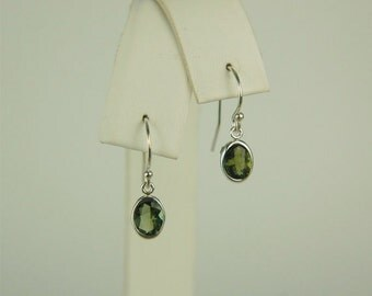 Moldavite Faceted Dangle Earrings Sterling Silver 7x5mm Oval 1.20ctw In Backset Drop Setting Natural Untreated