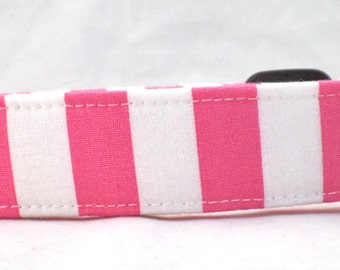 Bubble Gum Pink and Bright White Striped Dog Collar