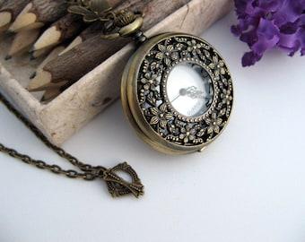 SALE * Bronze Cherry Blossom Pocket Watch Necklace - 1 3/4 inch Watch Necklace - Victorian Steampunk Era