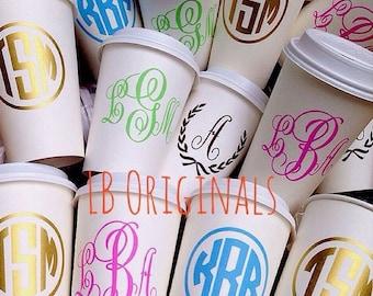 Monogram disposable travel coffee cups