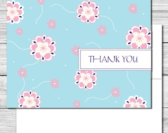 Thank you Notes--Blue with Pink Flowers--505S