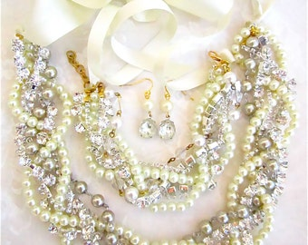 Pearl Statement Necklace Bridal Rhinestone Necklace Chunky Pearl Necklace With Silk Ribbon Ivory, White, Cream, or Champagne- Necklace Only