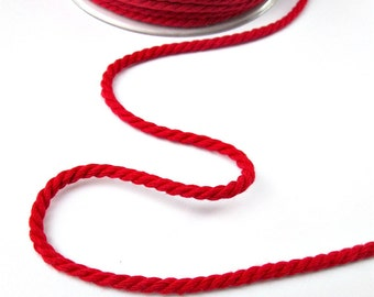 Red twisted cotton cord, 4mm, 3 meters