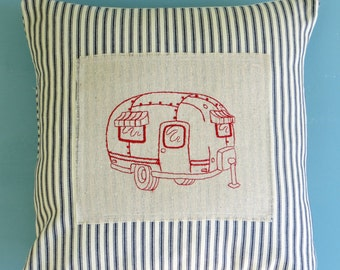 red vintage airstream trailer, navy and cream stiped French Ticking, pillow cover