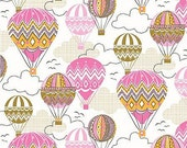 oop htf Blown Away Fabric by Josephine Kimberling for Blend Fabrics CHEVRON Zig Zag Pink Yellow Hot Air Balloons 1 and 1/4 yards