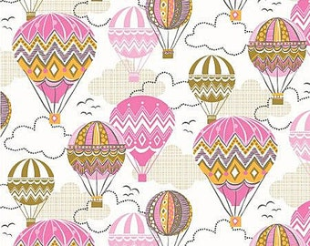 oop htf Blown Away Fabric by Josephine Kimberling for Blend Fabrics CHEVRON Zig Zag Pink Yellow Hot Air Balloons 29 in long x 44 wide
