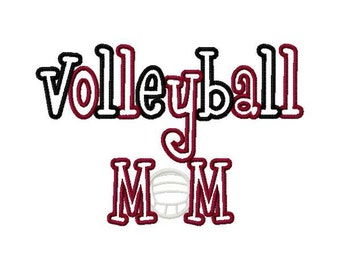 Volleyball Mom 2 Color Embroidery Machine Applique Design 4178