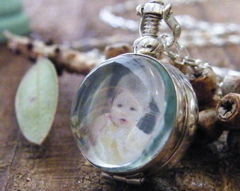 two sided photo locket round glass locket sterling silver heirloom keepsake remembrance necklace shiny finish