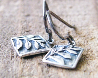 tiny rectangle branch dangle earrings sterling silver two sided