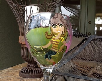 Hand painted wine glass, hand painted wine glasses, Plain Jane girl on laptop with cat