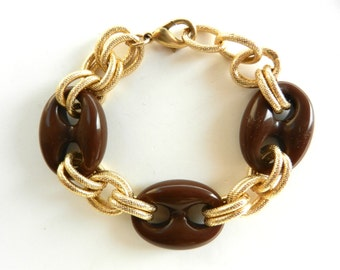 Lovely and  original bracelet  - 1970 golden chain bracelet, brown decorative elements, elegance with simplicity--Art.958/2-