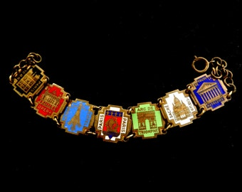 Gorgeous ANTIQUE 1950  FRENCH Paris Enamel & Golden linked Bracelet SOUVENIR--Art.156/3 -