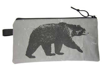 Pencil Case, Grey Pencil Case, Bear Pencil Case, Canvas Zip Pouch, Dad Pencil Case, Personalised Gift