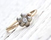 14K Gold Diamond Flower Engagement Ring Yellow White - Garden Days