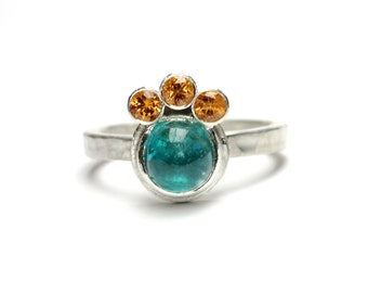 Blue Apatite Orange Spessartite Garnet Ring Silver Crown Boho Neon Blue-Green Gemstone Warm Cool Summer Colors Multiple Stone - Sonnenkrone