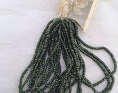 rare Antique French Steel cut  beads Original  bead hank Dark forest green collectible  VS