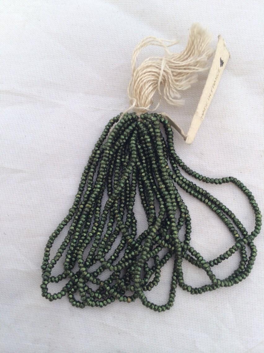 Rare Antique French Steel Cut Beads Original Bead Hank