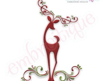 Reindeer Elegant Classy Swirls - Instant Email Delivery Download Machine embroidery design