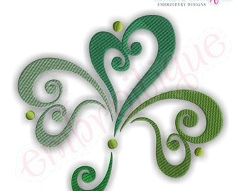 Ornate Curly Shamrock - Large- Instant Email Delivery Download Machine embroidery design