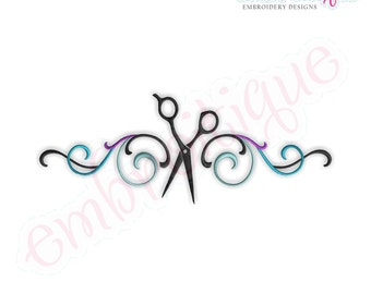 Flourish Border with Scissors Salon hairdresser stylist beautician  Instant Download -Digital Machine Embroidery Design