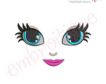 Doodley Doll Face 21 - several sizes included-Instant Download Digital Files for Machine Embroidery