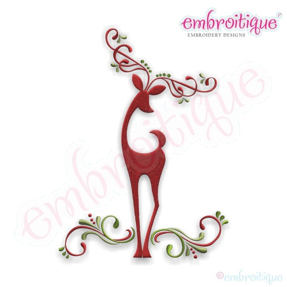 Reindeer elegant classy swirls instant email delivery