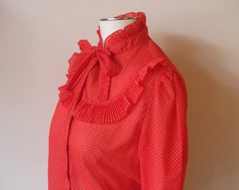 Classic 80s Ruffled Secretary Blouse, Red with White Polka Dots, Size S/M