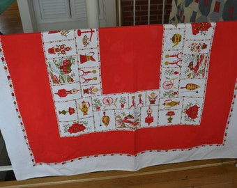 Vintage Red  Cotton Tablecloth
