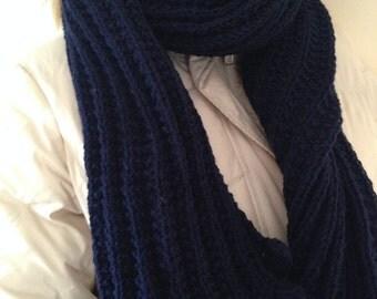 Christmas Gifts, Dark Blue Scarf, Wool Scarf, Handmade Scarf, Long Scarf ,Knit Scarf