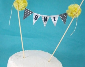 "First Birthday cake banner, Yellow Gray cake topper, ""One""  Cake Bunting D050 - cake bunting topper"