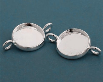 10pcs 12mm BRASS Base Trays Double ring silver tone pewter blank pendant