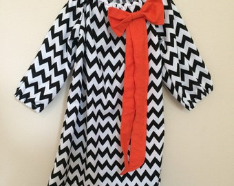 SALE - Halloween/Fall Peasant Dress - Black and White Chevron Print with Orange Bow - 3/4 Sleeve or Full Sleeve