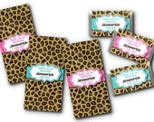 36 Mini Candy Wrappers, Baby Shower, Bridal Shower, Bachelorette Party, Birthday Party, Cheetah Print, Hot Pink, Turquoise Blue