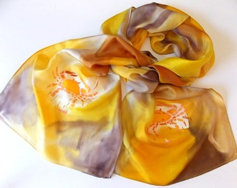 Silk Scarf,Yellow,Gold, Beige,Hand Designed,Astrological,Cancer The Crab,or Table Runner,14x72