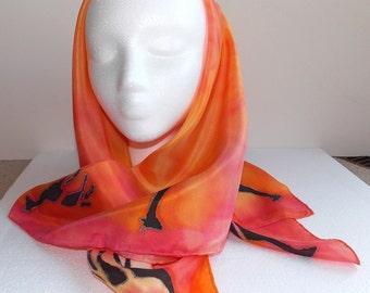 Silk Scarf,Handmade,Silk Head Scarf,Giraffes,,30x30 inches,Burnt Orange,African Safari, Giraffes