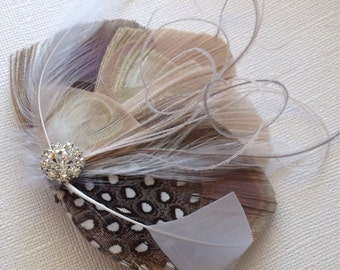 Ivory and Grey Peacock Jeweled Bridal PEACOCK Feather  Hair Fascinator Clip  Ready To Ship