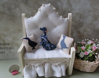 Dollhouse Miniature Country Duck calico Pillow set