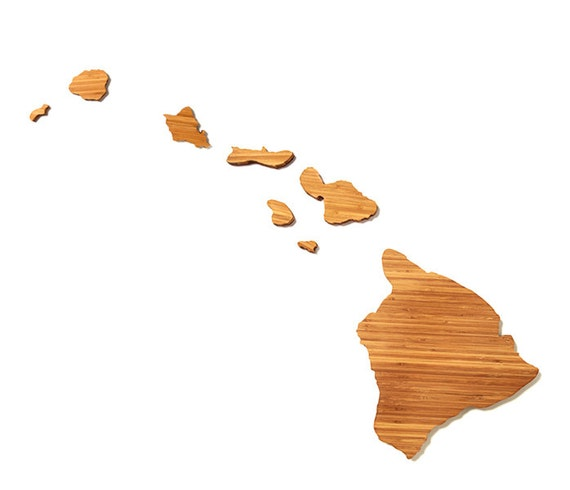 Hawaii Cutting Board 4th of july Gift Personalized engraved Hawaii cheese state shaped board