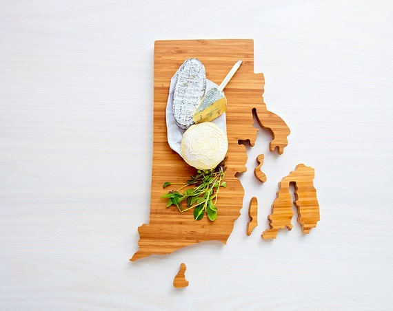 Rhode Island Cutting Board 4th of july Gift Personalized engraved Rhode Island cheese state shaped board