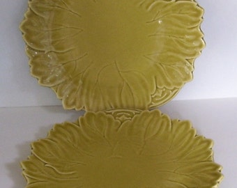 2 Woodfield Dinner or Chop Plates Golden Fawn by Steubenville, Leaf Shaped Plates, Golden Green Chartreuse In Color, 1940's Mfg 10 3/8 In