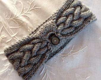 Grey Handknit Headband Earwarmer
