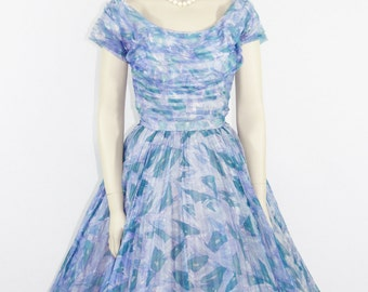 1950s Vintage Party Dress - Novelty Print Abstract Design Full Skirt Chiffon Wedding Prom Party Dress