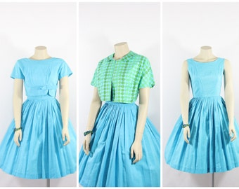 1950's Vintage Dress - Turquoise Sleeveless or Short Sleeve Full Skirt Darling Dress - Size Small