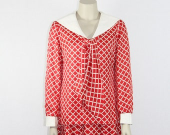 SALE.....1960s Designer Vintage Dress - BOB BUGNAND Red and White Sailor Inspired Flirty Dress - 36 / 32 / 36